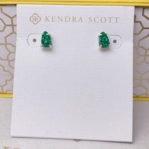 New Kendra Scott Gold Emerald Drusy Harriett Stud